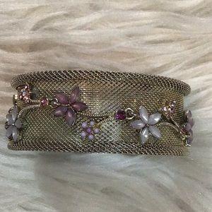 Silver Mesh Floral Enamel & Rhinestone Bracelet